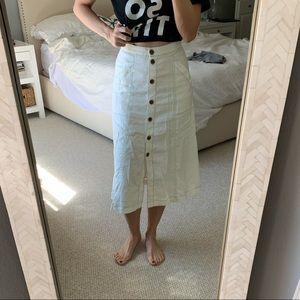 Anthropologie white linen midi skirt